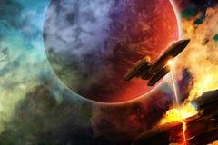 Astronautyczna bitwa ilustracja wektor