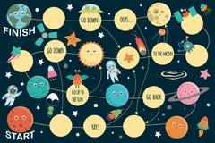 Astronautyczna gra planszowa dla dzieci ilustracji
