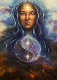 Astronautyczna kobiety bogini Lada jako możny kochający opiekun z symbo, ilustracji