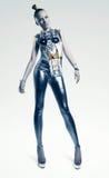 Astronautyczna kobiety pozycja w srebnym kostiumu Obrazy Stock