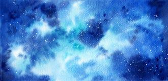 Astronautyczna ręka malujący akwareli tło Abstrakcjonistyczny galaxy obraz ilustracji