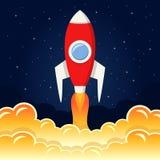 Astronautyczna rakieta Bierze Daleko od księżyc ilustracja wektor