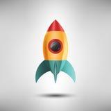 Astronautyczna rakieta Zaczyna Up symbol i Wszczyna, projekt ikony, początkowy pojęcie, Wektorowa ilustracja Zdjęcie Royalty Free