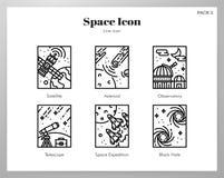 Astronautyczna ramowa ikony linii paczka ilustracja wektor