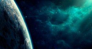 Astronautyczna scena Błękitna mgławica z dużą planetą Elementy meblujący obok ilustracji