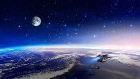 Astronautyczna scena Kolorowa mgławica z ziemską planetą, księżyc i statkiem kosmicznym, Elementy meblujący NASA świadczenia 3 d ilustracji
