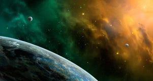 Astronautyczna scena Pomarańcze i zieleni mgławica z planetami Elementu furn ilustracja wektor