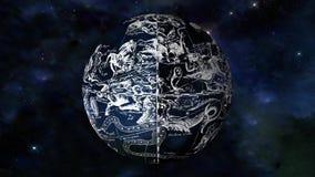 Astronautyczna sfera z znakami zodiak ilustracji