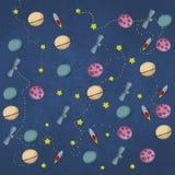 Astronautyczna tło ilustracji rakiety ziemia i gwiazdy ilustracji