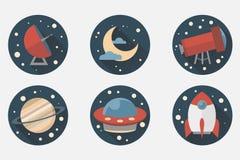 Astronautyczne ikony Płaski projekt Obrazy Royalty Free