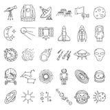 Astronautyczne ikony ustawiać, płaska ręka rysujący styl fotografia stock