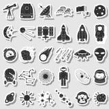 Astronautyczne ikony ustawiać, płaska ręka rysujący styl zdjęcia stock