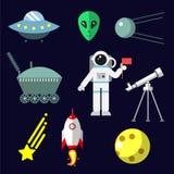 Astronautyczne ikony ustawiać Zdjęcia Stock