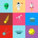 Astronautyczne ikony ustawiać Obrazy Royalty Free