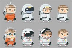 Astronautyczne ikony Ustawiająca fantastyka naukowa kosmonauta astronauta kosmita kreskówki RPG projekta wektoru Gemowa Płaska il ilustracja wektor