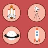 Astronautyczne płaskie ikony Zdjęcie Royalty Free