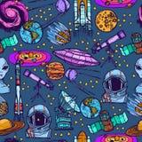 Astronautycznego nakreślenia bezszwowy wzór Zdjęcie Royalty Free