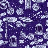 Astronautycznego nakreślenia bezszwowy wzór Fotografia Royalty Free