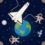 Astronautycznego tła Bezszwowy wzór Zdjęcie Stock