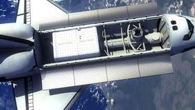 Astronautycznego wahadłowa Na orbicie ziemia ilustracja wektor