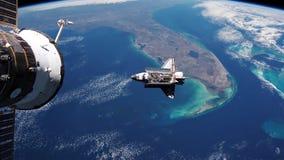 Astronautycznego wahadłowa Na orbicie ziemia ilustracji