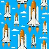 Astronautycznego wahadłowa Bezszwowy wzór Obraz Royalty Free