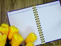 Astronautycznej kopii pusty notatnik z sztucznego kwiatu tłem zdjęcie stock
