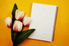 Astronautycznej kopii pusty notatnik z sztucznego kwiatu tłem fotografia royalty free