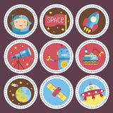 Astronautycznej kreskówki Wektorowe ikony Inkasowe ilustracja wektor