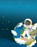 Astronautycznej podróży ilustracja dla dzieci - szczęśliwy i śmieszny nastrój - Obraz Royalty Free