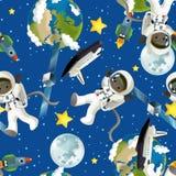 Astronautycznej podróży ilustracja dla dzieci - szczęśliwy i śmieszny nastrój - Zdjęcie Stock