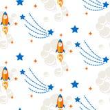 Astronautycznej rakiety kreskówki wektoru bezszwowy wzór ilustracja wektor