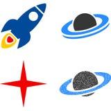 Astronautycznej rakiety mieszkania ikony Fotografia Stock