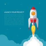 Astronautycznej rakiety wodowanie tło ilustracji