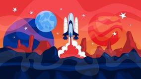 Astronautycznej rakiety wodowanie z planetami na tle ilustracja wektor