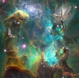 Astronautyczni aniołowie ilustracja wektor