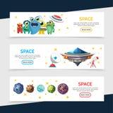 Astronautyczni Horyzontalni sztandary Obraz Royalty Free