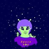 Astronautyczny śmieszny obcy facet, antena, purpurowy włosy, zielona skóra i dwa, royalty ilustracja