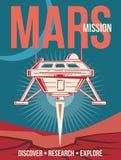 Astronautyczny badawczy wektorowy plakat Statku kosmicznego lądowanie Mars rocznika tło ilustracja wektor