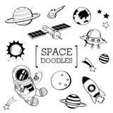 Astronautyczny Doodle, ręka rysunku przestrzeń style Zdjęcia Royalty Free