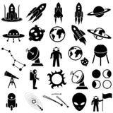 Astronautyczny ikona set Fotografia Royalty Free