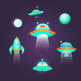 Astronautyczny ikona set Zdjęcia Stock