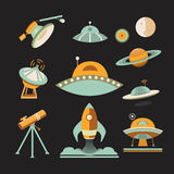 Astronautyczny ikona set Zdjęcie Royalty Free