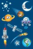 Astronautyczny ikona set Obrazy Royalty Free