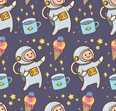 Astronautyczny kawaii tło z astronautą i lody planetujemy royalty ilustracja