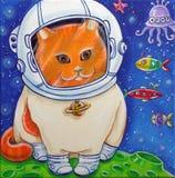 Astronautyczny kot Fotografia Stock