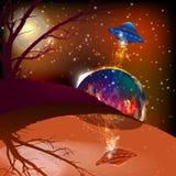 Astronautyczny krajobraz Mars UFO ilustracja royalty ilustracja