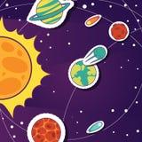 Astronautyczny kreskówki tło z przedmiotów, komet, gwiazd, słońca i planet wektoru ilustracją, Rekonesansowy wszechrzeczy sztanda obrazy stock