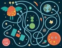 Astronautyczny labirynt dla dzieci ilustracji