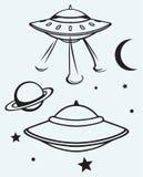 Astronautyczny latający spodeczek ilustracji